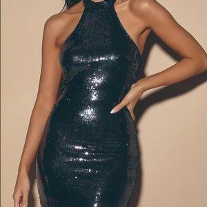 Halter top style black sparkly dress